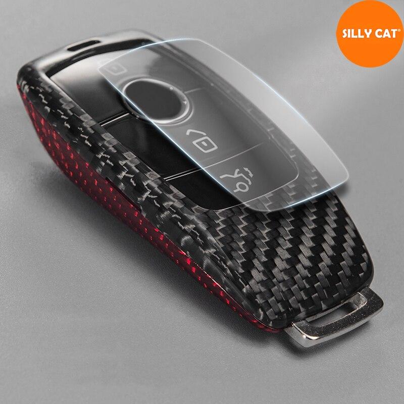 Funda para llave Mercedes Benz, funda para llave de coche de fibra de carbono para A B G S E C clase W205 W213 C217 W177 W247