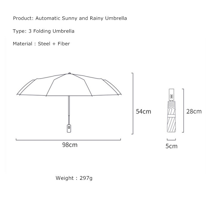 Fashion Windproof Automatic Three Folding Rain Umbrella Paraguas Mujer UV Protection Women Men Business Strong Umbrellas enlarge