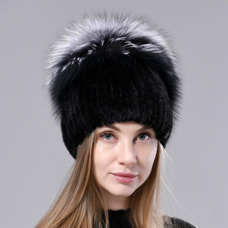 Natural Fox Fur Hat Fluffy Winter Warm Mink Fur Hat Women Knitted Luxury Fashion Stylish Anti-Cold R