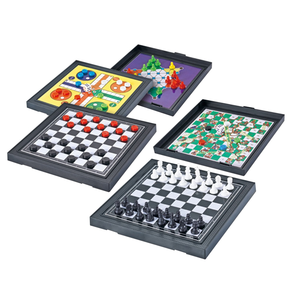 Mini juego de mesa 5 en I educativo de viaje para padres e hijos, tablero de ajedrez magnético, fiesta familiar, regalos para niños y adultos, entretenimiento