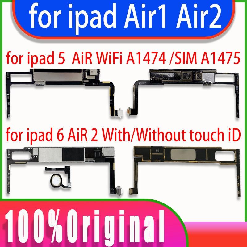 لوحة أم نظيفة غير مقفلة لأجهزة iPad 5 6 Air 1 2, A1566 A1474 A1475 ، واي فاي ، لوحة رئيسية خلوية لأجهزة iPad AIR1 AIR2