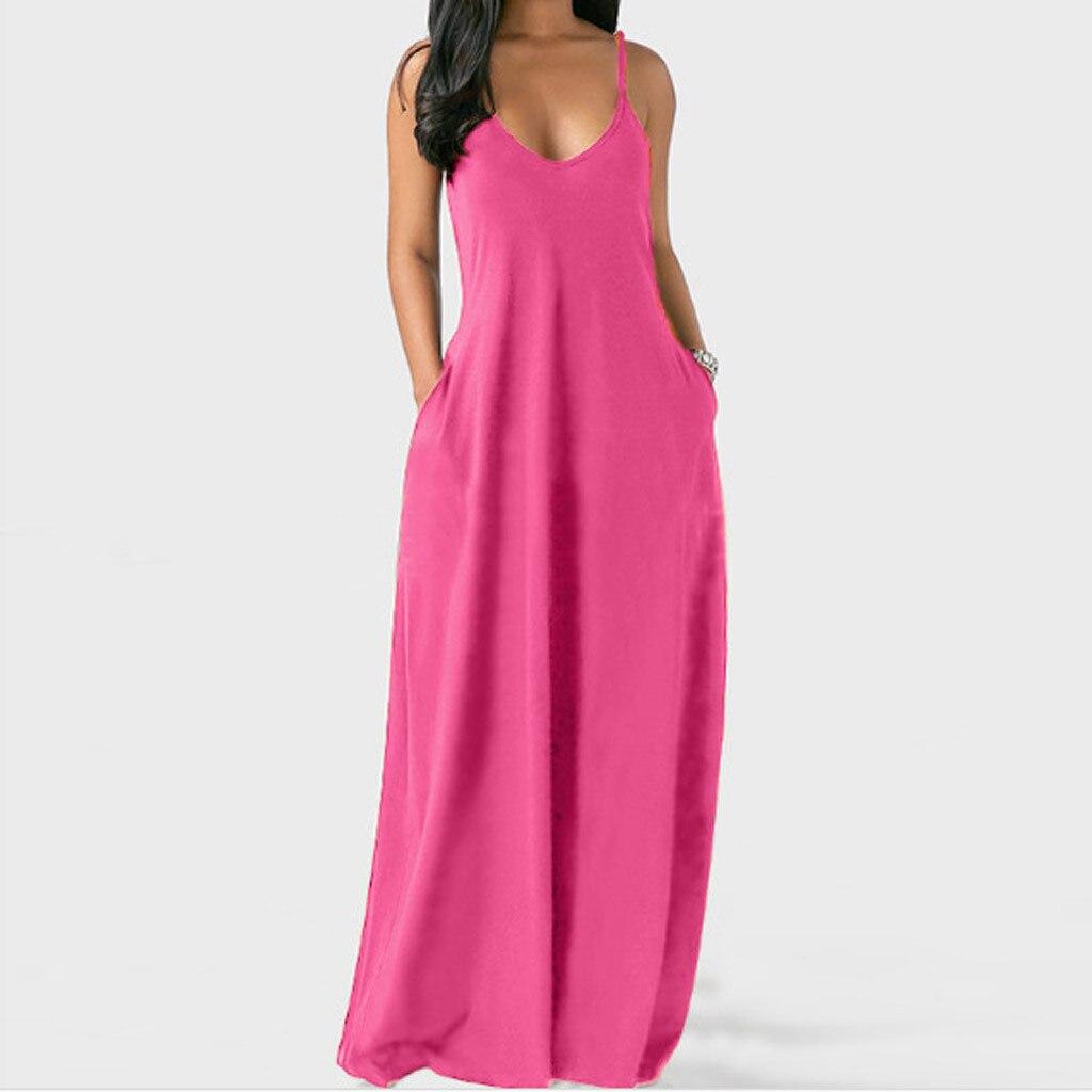40# Women Sexy Holiday Long Dress Sleeveless Solid Color Dress Plus Size Sundresso-neck Pocket Bohemia Dress Vintage Robe Femme