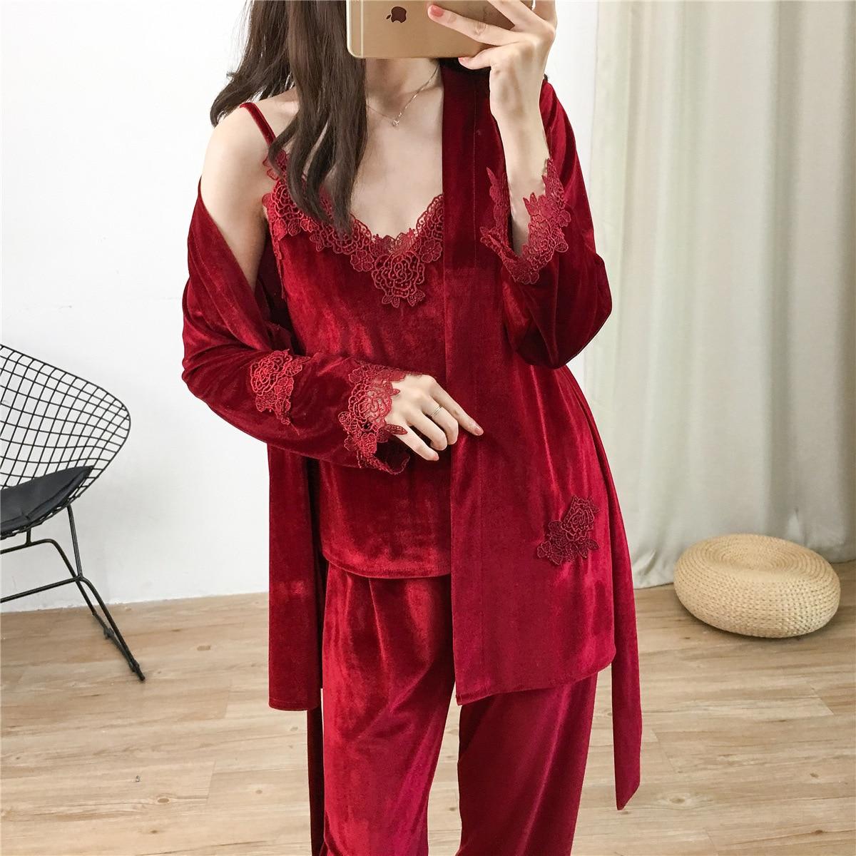 Ropa de dormir de terciopelo para mujer 3 uds. Conjunto de pijamas Sexy con cuello en V ropa de casa ropa de dormir Casual con cinturón