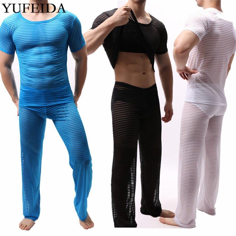 Mens Clothes Set Transparent Loose Long Pants Trousers Sexy Men Undershirts Sheer Slim Fitnees Tops Pajama Sleep Seamless Shirts