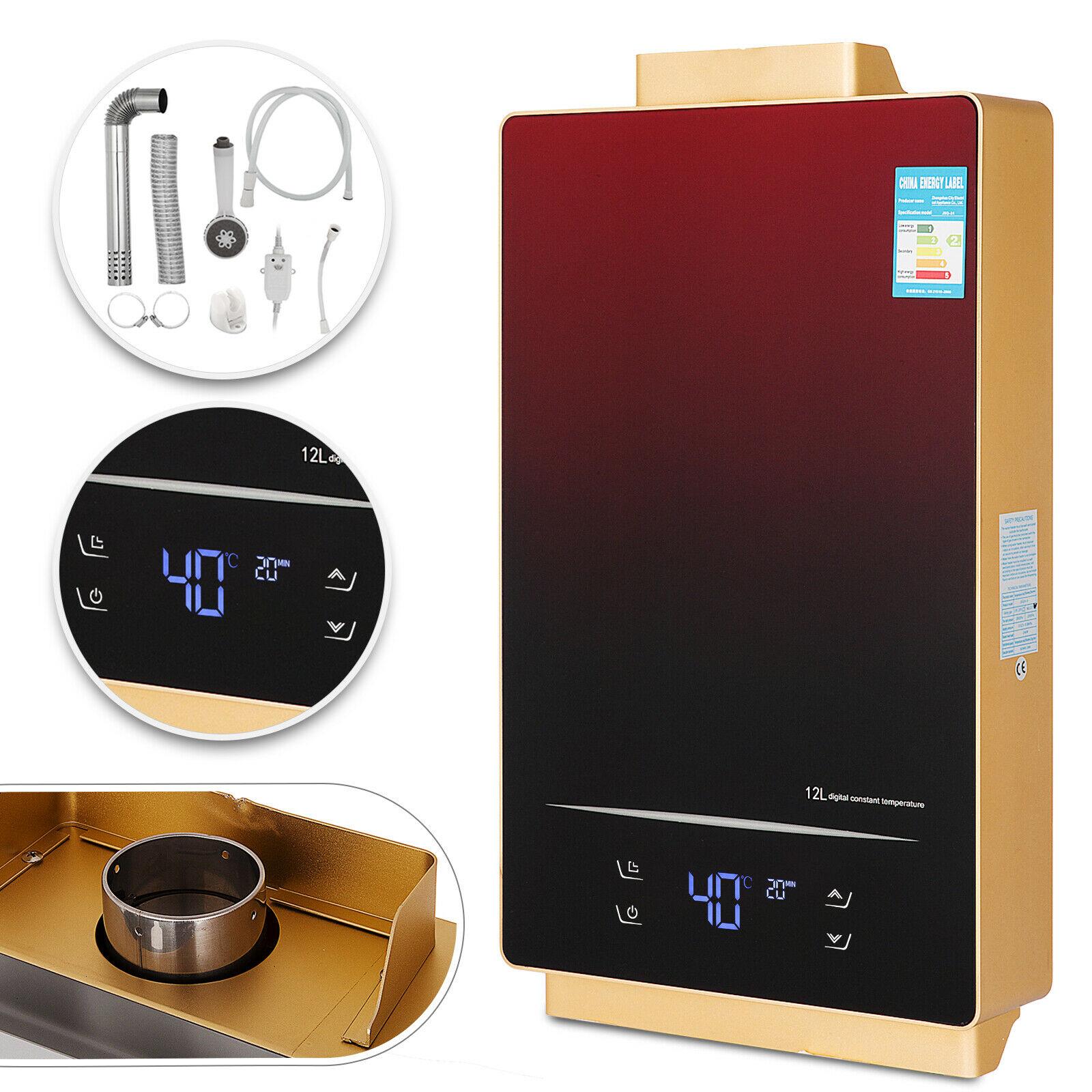 12L GLP calentador de agua sin tanque pantalla táctil bajo demanda pantalla LED interior calentador de agua caliente instantáneo con Kit de cabezal de ducha