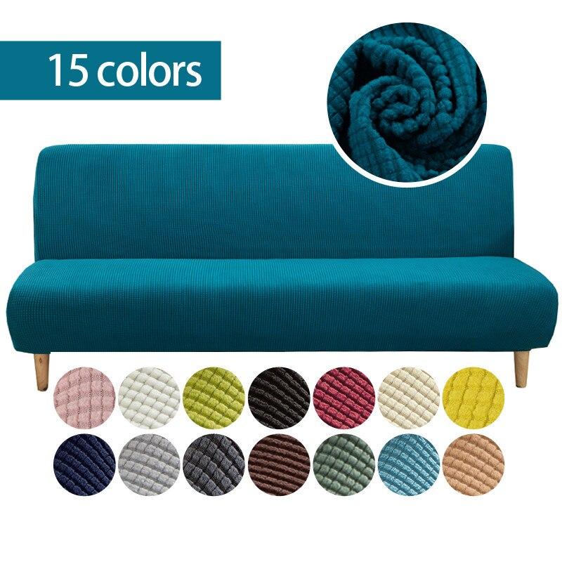 Чехол для дивана из флисовой ткани без подлокотников, однотонный чехол для кровати без подлокотника, большая эластичная складная мебель, Де...