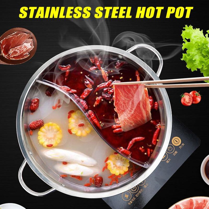 إناء/ قدر الفولاذ المقاوم للصدأ التوأم مقسمة 2 مقبض وعاء الطبخ لوازم الطبخ