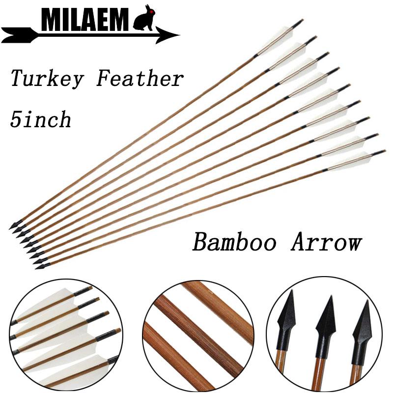 6/12 Uds 83cm tiro con arco flecha de bambú 5 pulgadas pluma de pavo OD8mm tradicional punta de flecha compuesto arco recurvo accesorios de disparo
