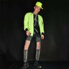 Male Flashing Fluorescent Green Sequined Jacket Stage Costume Dj Nightclub Ds Singer Dancer Blazer G