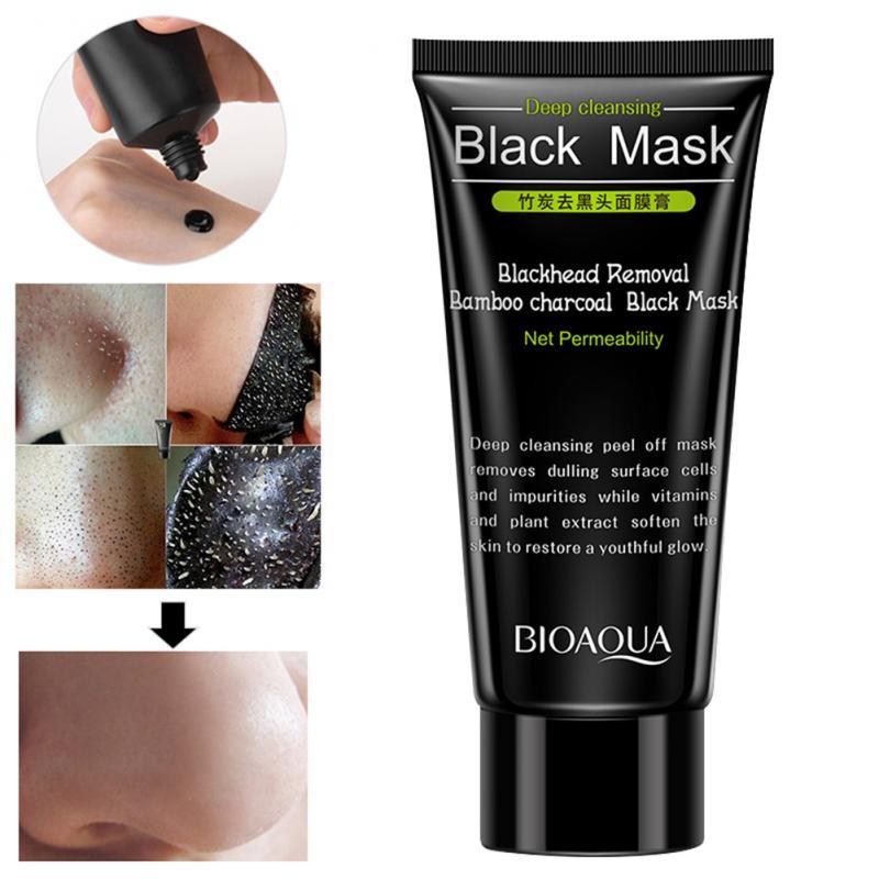 Máscara facial removedor de cravo creme cuidados com a pele encolher poros acne remoção de cabeça preta nariz purificação tipo casca máscara tslm1      -