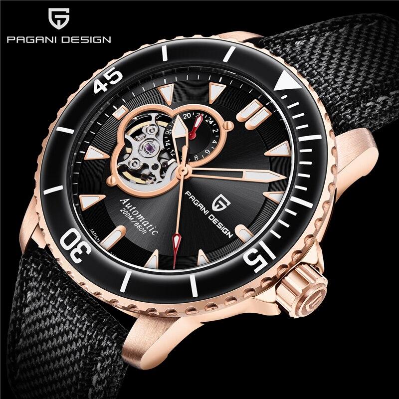 PAGANI DESIGN Tourbillon Mechanical Wristwatch Sapphire Crystal Hollow Automatic Watches Top Brand 200M Waterproof Men's Watch