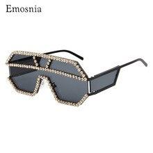 Emonsnia büyük boy renkli elmas güneş gözlüğü kadınlar lüks moda kare güneş gözlüğü degrade Vintage Punk gözlük UV400 Gafas