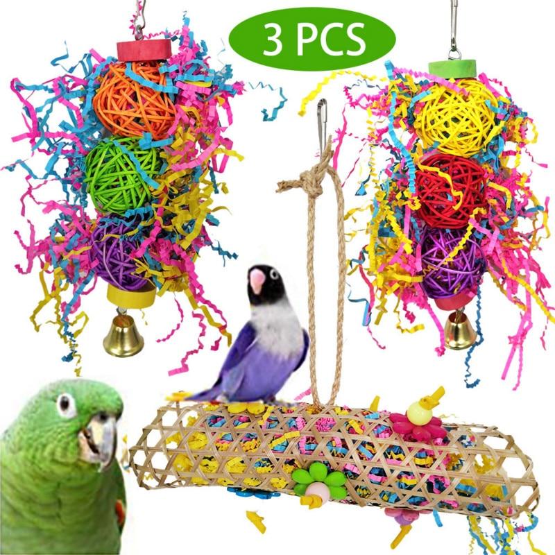 Parrot Bite Toys Pet Bird Drawing Vine Bal String Pull 3 Piece Ensuite Bird Toy