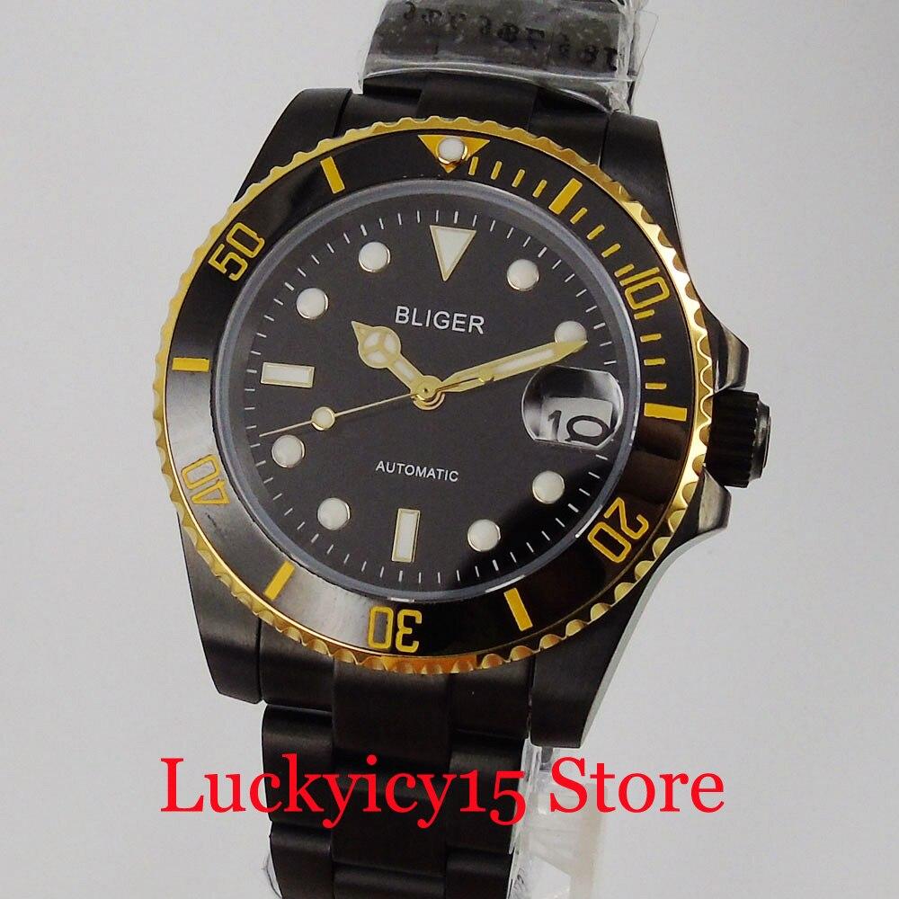 BLIGER ساعة رجالي أوتوماتيكية فاخرة مطلية بالذهب الأسود الياقوت الكريستال NH35 حركة ميوتا 8215