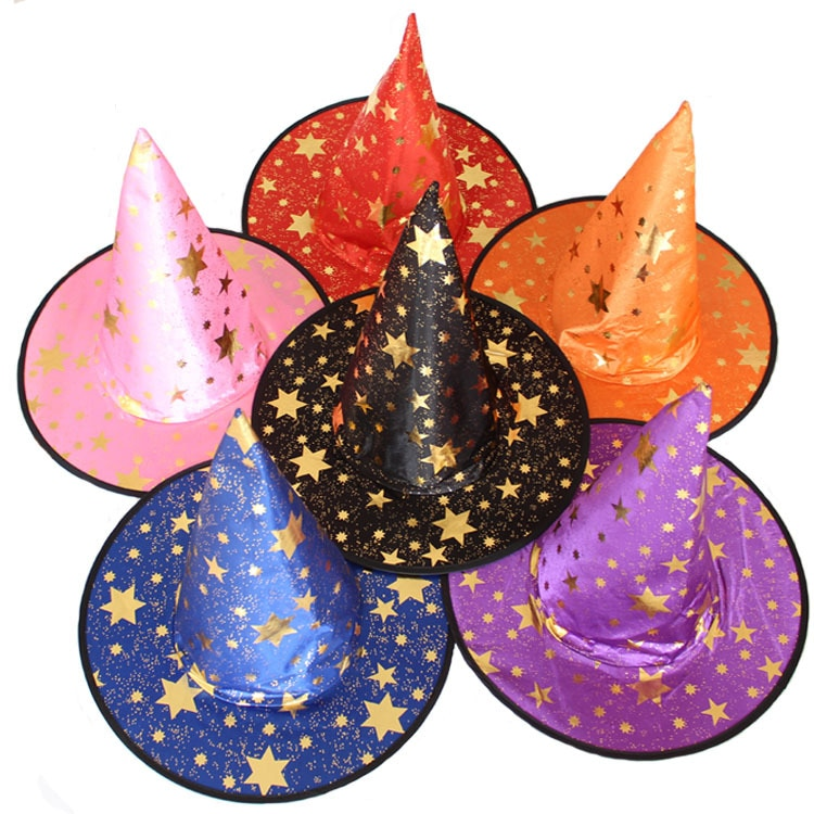 Women Men 5-Star Witch Hats Adult Halloween Costume Party Hats Magicians Hat Cap Masquerade Ribbon Wizard Hat