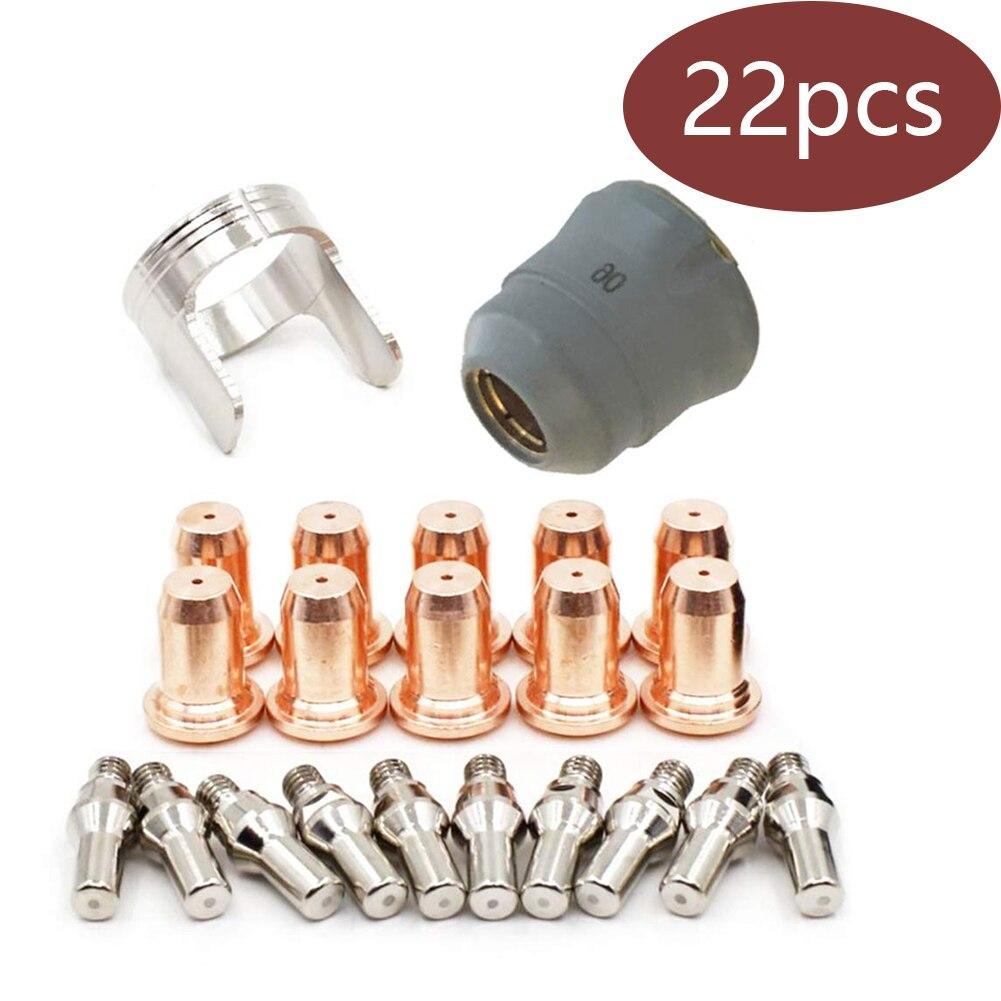 22PCS Welding Torch Nozzle Part Kit Plasma Electrode Nozzle PT60 Electrode Slicing Nozzle Protective Cap Isolation Ring