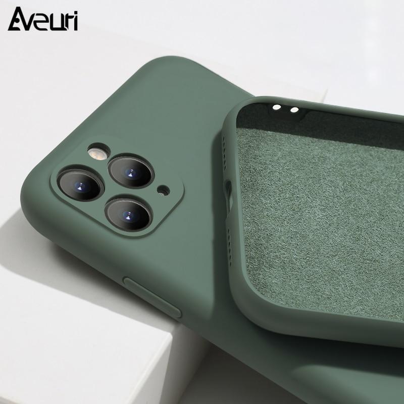 Funda de silicona líquida para iPhone 11 Pro MAX X XR XS Max Coque Soft a prueba de golpes funda de teléfono para iPhone SE 2020 6 6S 7 8 Plus