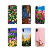 Coque téléphone portable bleu printemps tulipes colorées pour Xiao mi 4 mi 5 mi 5S mi 6 mi A1 A2 5X6X8 9 Lite SE Pro mi Max mi x 2 3 2S