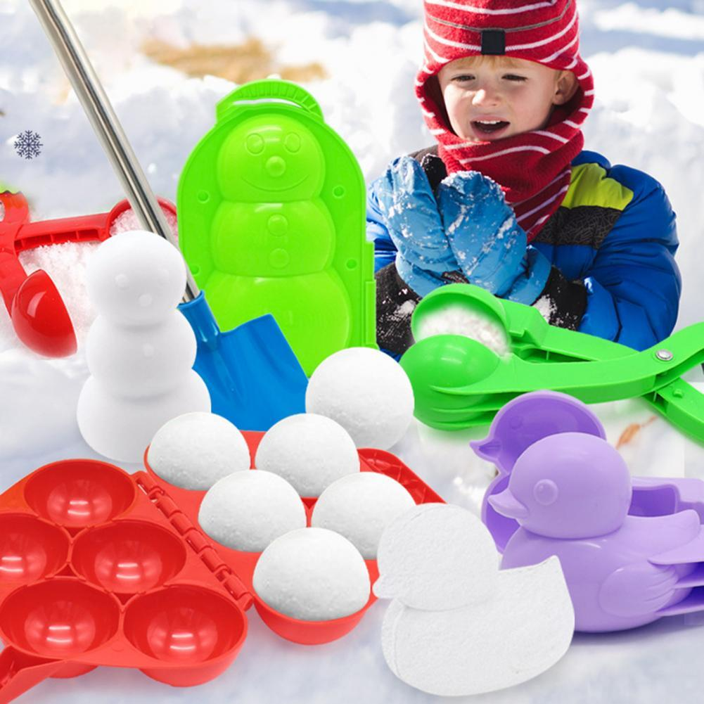 Winter Outdoor Sports Plastic Snowball Clip Maker Mold Tool Children Play Toy Snowball Maker Clip Winter Snow Toy For Kids winter snowball maker sand mold tool kids toy lightweight compact snowball fight sports outdoor games for children
