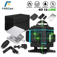 16 lines laser level 4d green light auto self leveling 360 rotary measuring led display horizontal vertical cross remote control