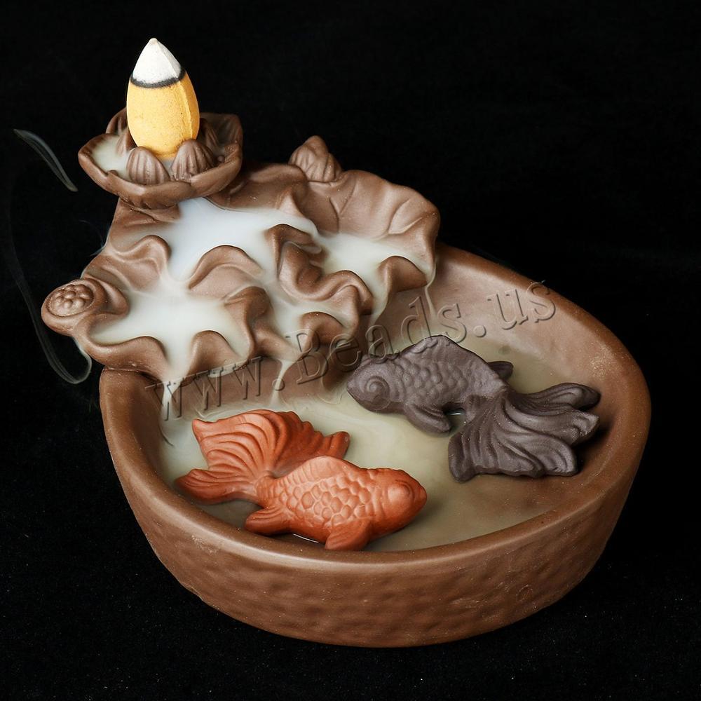 Quemador de incienso de flor de loto de reflujo, incienso de cascada de humo de carpa incensario de cerámica, soporte de incienso, adornos de regalo, decoración creativa para el hogar