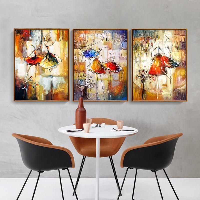 Figura abstracta mujer bailarina lienzo póster impresión Spray Color pintura sin marco cuadros de pared para sala de estar hogar decorativo