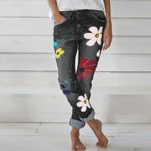 New Autumn Fashion Women Denim Pant Floral Printed Jeans Trouser Femme High Waist Pocket Pant Fit St