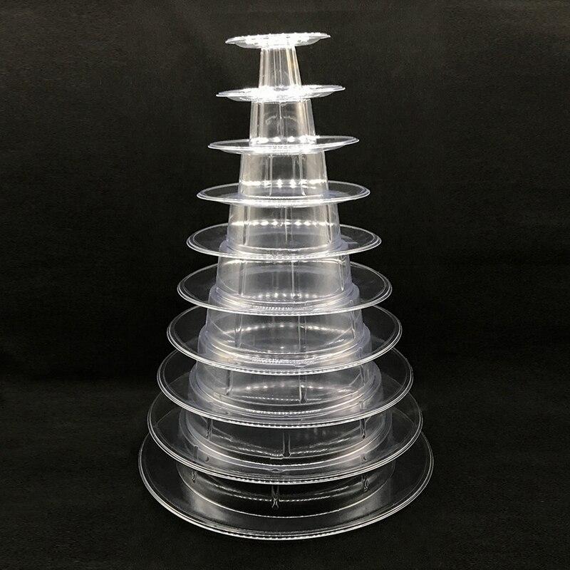 عرض معكرون مع برج من 10 مستويات ، حامل كعك دائري من مادة PVC ، صينية عرض لحفلات الزفاف وأعياد الميلاد ، أدوات تزيين الكيك