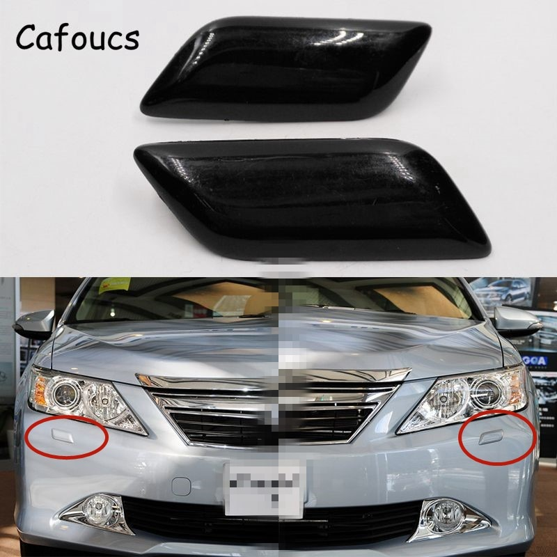 Cafoucs Headlamp Spray Water Jet Cover For Toyota Camry 2011-2015 Accessories Car Headlight Washer Nozzle Cap
