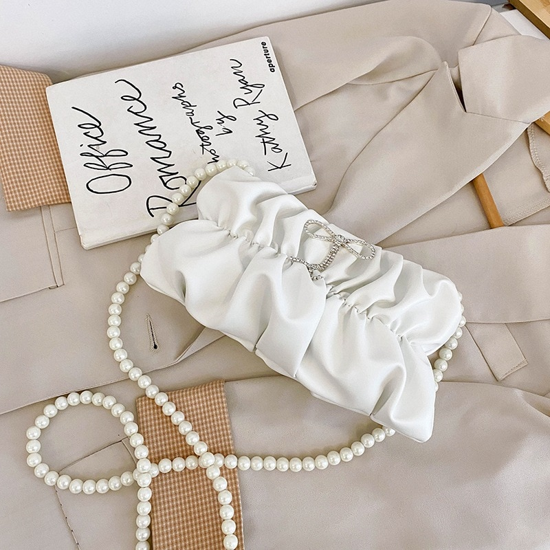 Simple New Fashion Women Solid Color Handbags Pleated PU Leather Female Pearl Chain Shoulder Bag Elegant Ladies Crossbody Bags