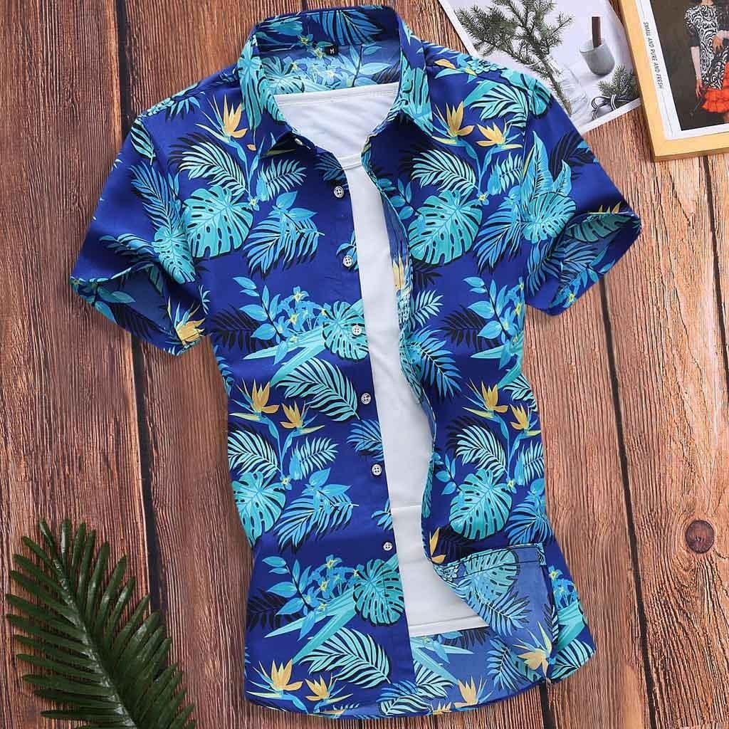 Camisa ajustada Feitong para hombre, Camisa Hawaian de verano 2020, Camisa estampada de manga corta con cuello vuelto, camisetas masculinas