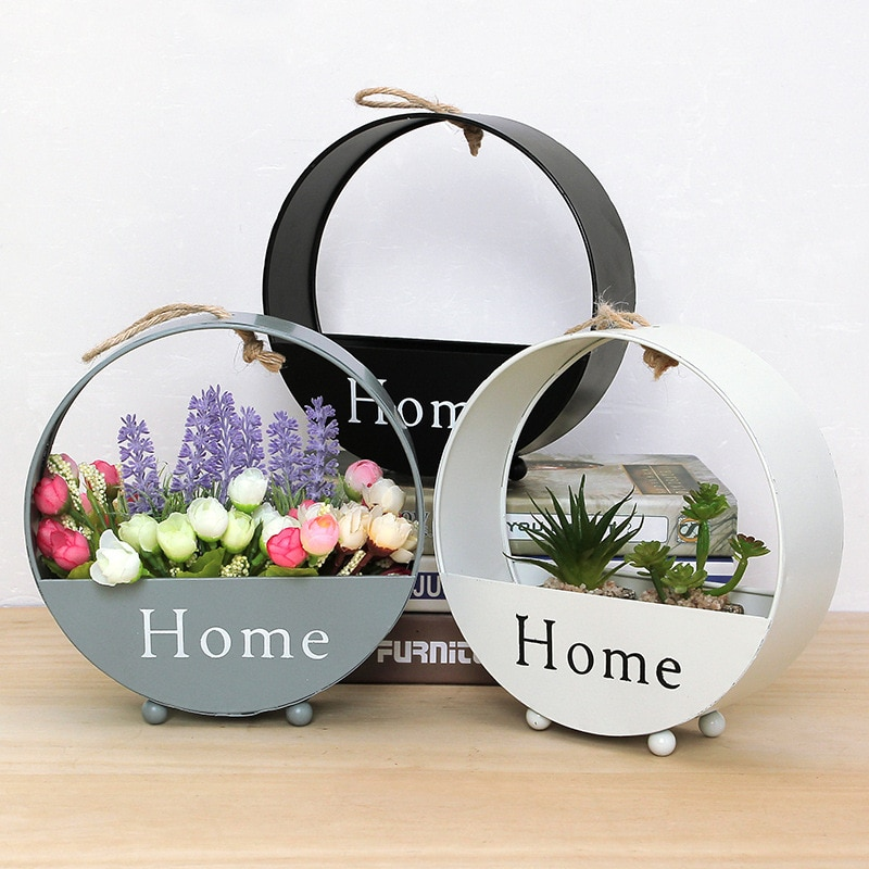 Round wall hanging flower pot, basket, living room decoration pendant