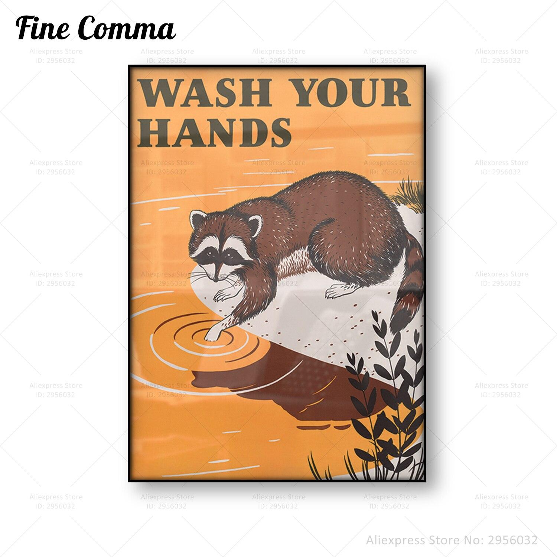 ВИНТАЖНЫЙ ПЛАКАТ «мыть руки», знак «общественное здоровье», ретро, настенное искусство, ванная комната, холст, печать, кухня, искусство, пере...