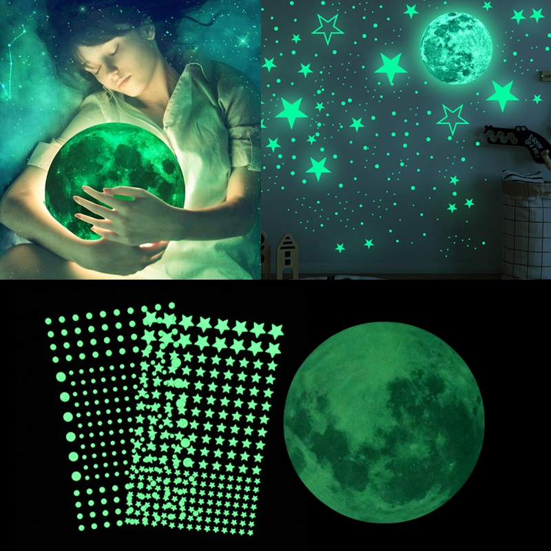 luminous unicorn wall stickers for kids room home decor baby bedroom glow in the dark stars wall stickers ceiling home decor Luminous Moon Stars Wall Stickers Glow In The Dark 3D Bubble Dot Star For Home Kids Room Ceiling Decor Fluorescent Wall Stickers