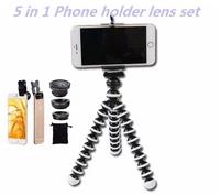 5in1 mobile phone lens kit wide angle macro fish eye lenses for xiaomi redmi 3 s 4 note 3 mi5 mi6 smartphone clips mini tripod