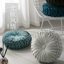 Estilo europeu Rodada almofada Do Assento de veludo Luxo Margarida plissado piso Para Home Decor Ins Carro cadeira de Escritório almofada do sofá cama grosso