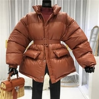 winter coat ladies parker coat shiny surface warmth thick thick cotton casual loose womens jacket ladies belted jacket 2021 new