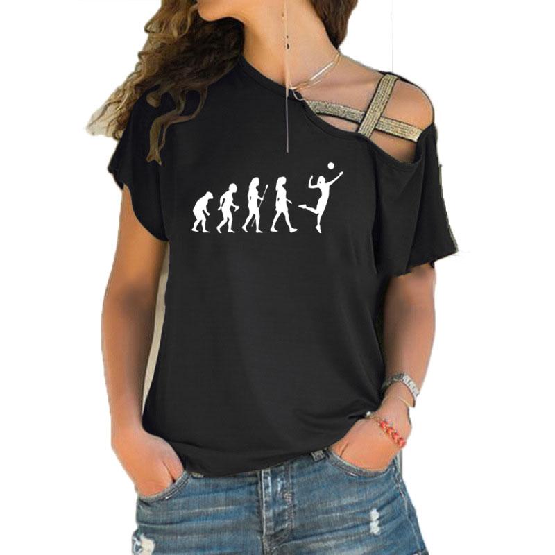 Sólo VOLLEY BALL T camisa divertida camiseta de manga corta Mujer Volleyballer evolución Irregular Skew Cruz vendaje Tops Tee