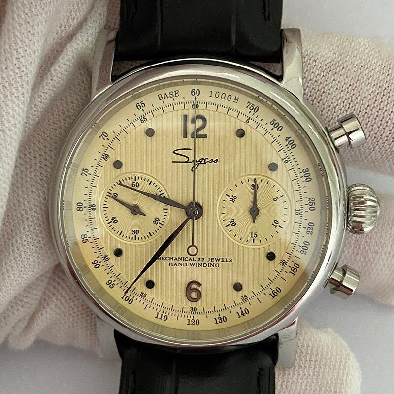 Sug ساعة رجالي ، ريترو الياقوت هانيكال الموقت ، الياقوت النورس الرياضة st1901 1963 40 مللي متر