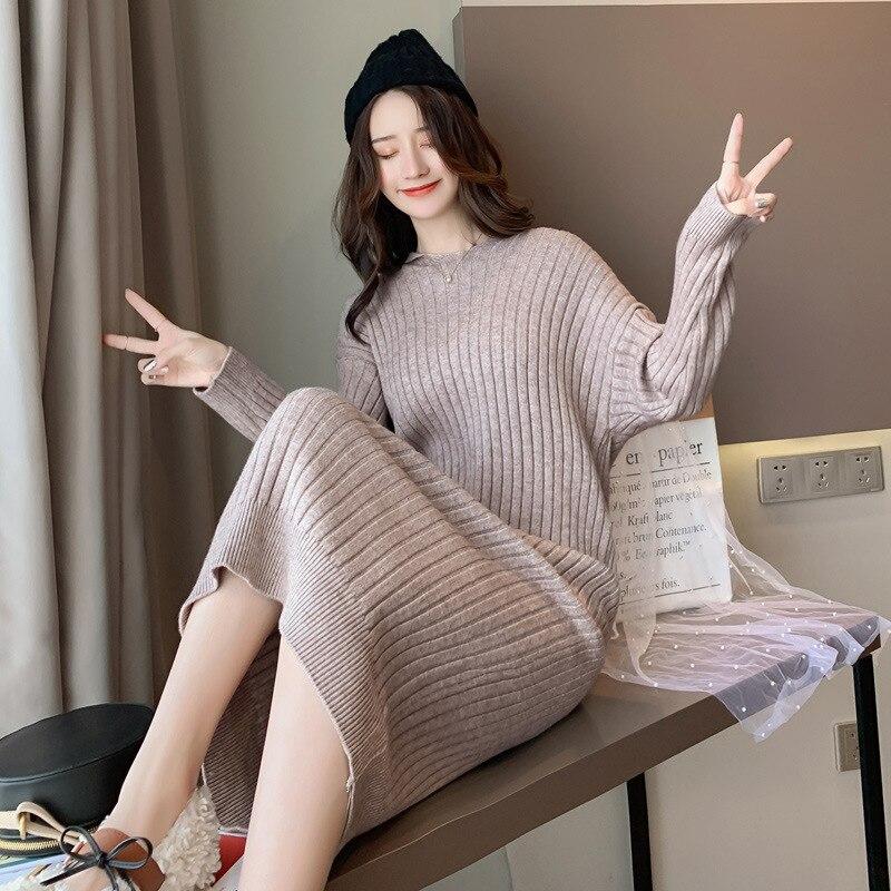 Autumn Pregnant Dress Women's Dress Maternity Big Size Winter Women Sweater Dress Pregnancy Long Style Sweater Dress 1661042 enlarge