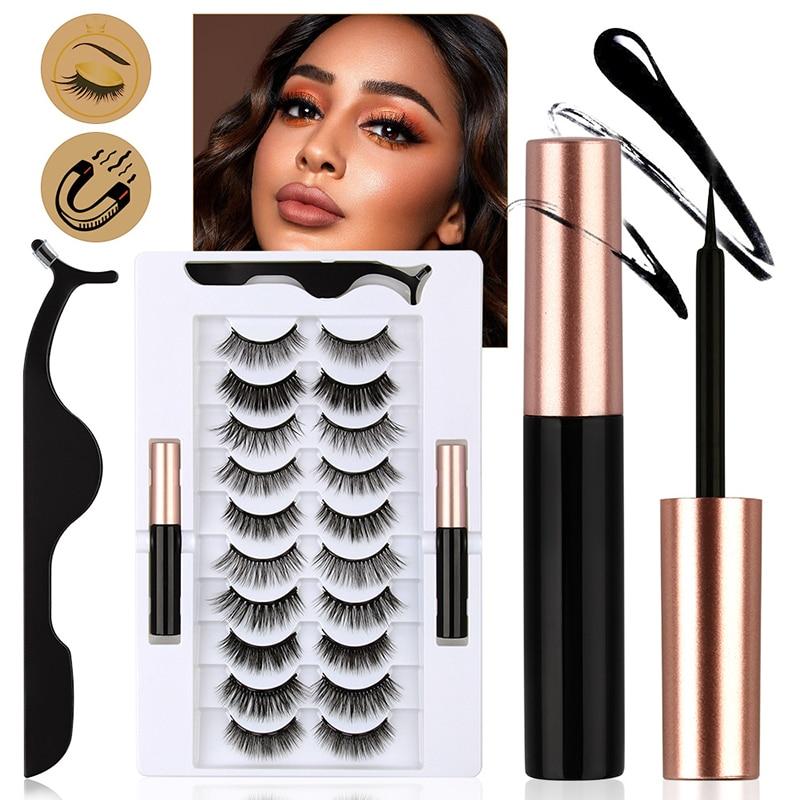Mix 1/3/5/7/10 Pairs Eye Makeup Magnet Lashes Magnetic Eyelashes Liqiud Eyeliner Tweezers Beauty Too