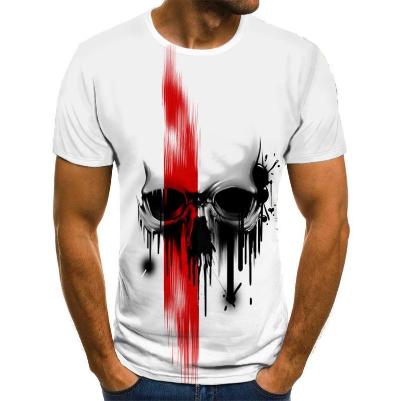 2021 summer men's T-shirt new 3D printing skull devil shirt summer top quality black clothing round neck beach top