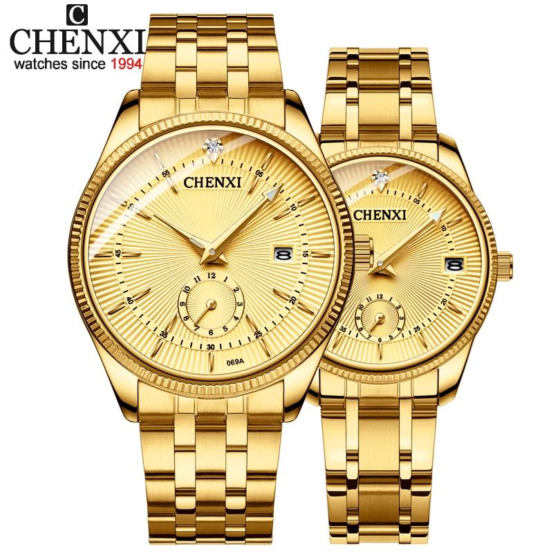 CHENXI Gold Wrist Watch Men Watches Lady Top Brand Luxury Quartz Wristwatch For Lover's Fashion Dres