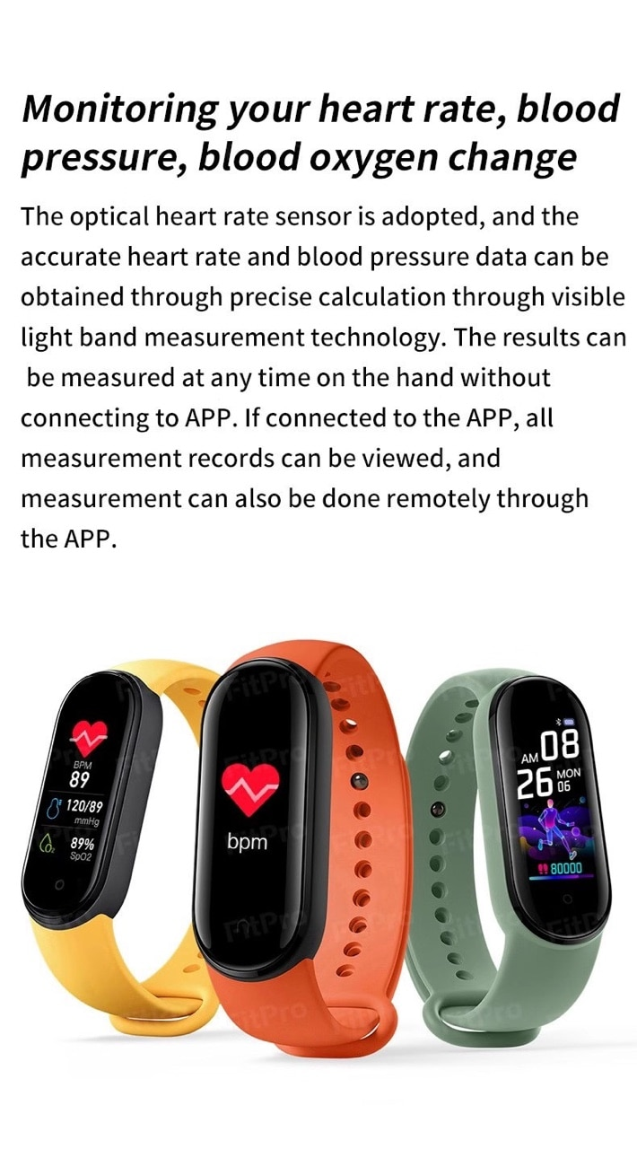 M5 Smart Watch Men Women Heart Rate Smartband Fitness Tracker  Pedometer Heart Rate Monitor SmartBand Wristband for Android IOS
