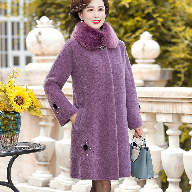 Ropa de Otoño/Invierno de mujer urbana, abrigo de Cachemira de visón, abrigo de solapa, gabardina de talla extra, longitud media
