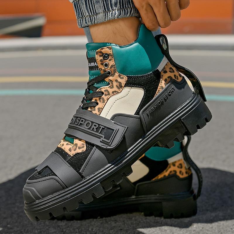 Фото - Мужские кроссовки из микрофибры, высокие кеды на платформе, с леопардовым принтом, повседневные дизайнерские кеды drunknmunky высокие кеды и кроссовки