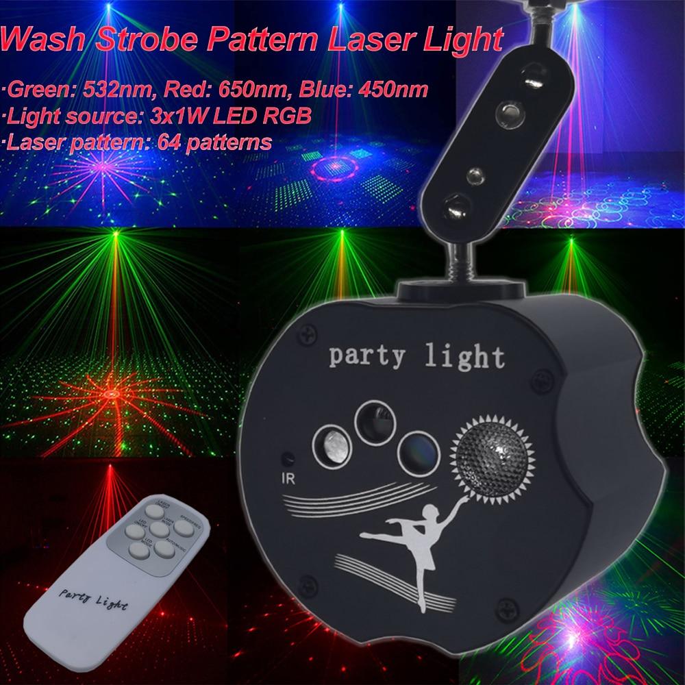 64 выкройки аккумулятор светодиод лазер проектор освещение RGB стирка строб DJ вечеринка дискотека свет для свадьбы дня рождения вечеринки спальни