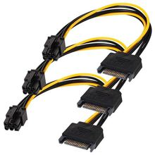 SATA 15 pin to 6 Pin Power Cable 3-Pack 15 pin SATA to 6 pin pci Express power Adapter cable - 8 Inch