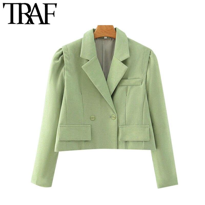 TRAF mujeres moda doble pecho Chaqueta corta abrigo Vintage Puff manga larga bolsillos Mujer prendas de vestir exteriores Chic Tops