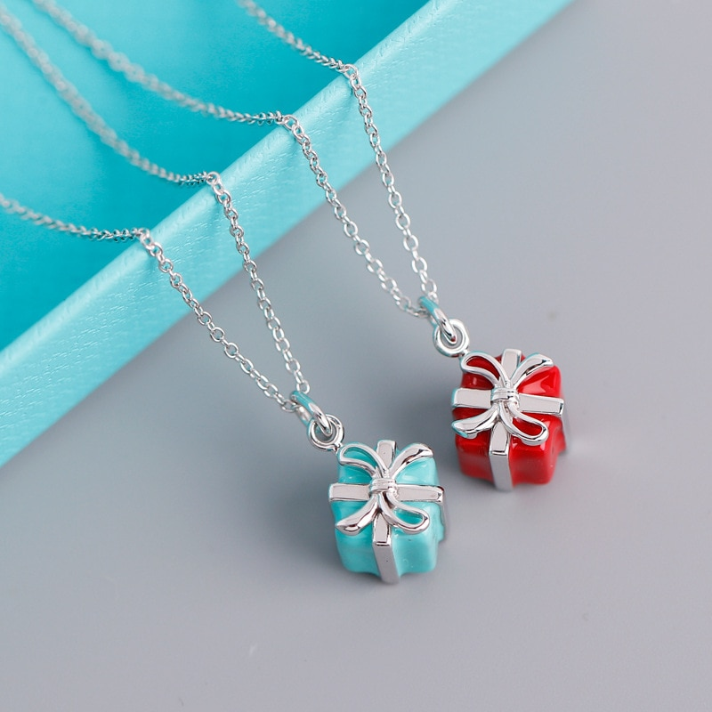 European and American new blue enamel gift box pendant necklace s925 sterling silver necklace female